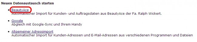 Datenaustausch Beauty Ace