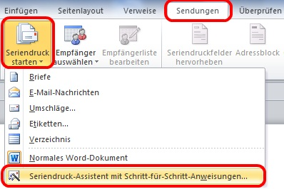 Word 2010 Seriendruck-Assistent